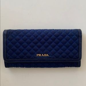 Prada Quilted Nylon Leather Continental Wallet